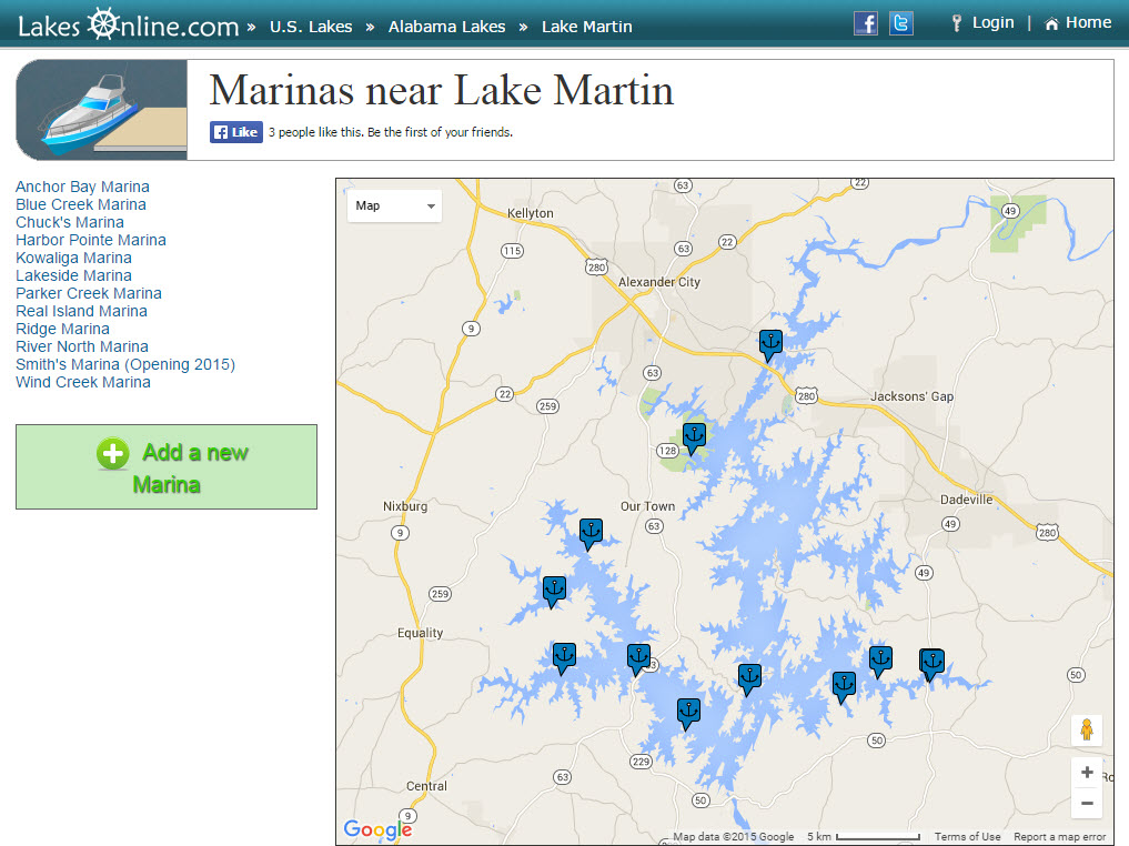Marinas on Lake Martin - map